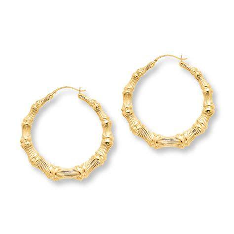Bamboo Hoop Earrings Large 14K Yellow Gold   392558300   Kay