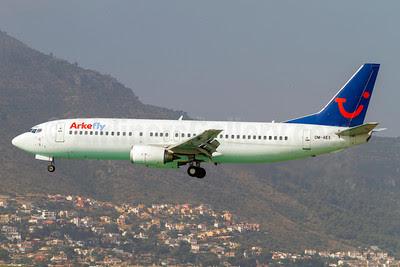 Arkefly (AirExplore) Boeing 737-4Y0 OM-AEX (msn 25178) AGP (Stefan Sjogren). Image: 913012.