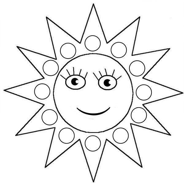 Coloriage à Gommettes Le Soleil Dessiné Par Nounoudunord