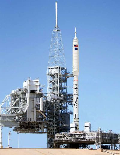 An arrtist's concept showing the Ares I-X rocket on its launch pad at Kennedy Space Center in Florida.