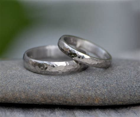 Platinum Wedding Band With Hammer Effect Platinum Wedding
