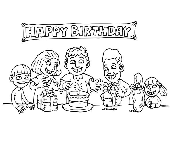 Happy Birthday Banner Coloring Pages