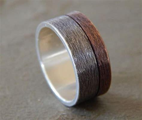 MOONLIGHT Silver & Copper Wedding Band // Men's Wedding