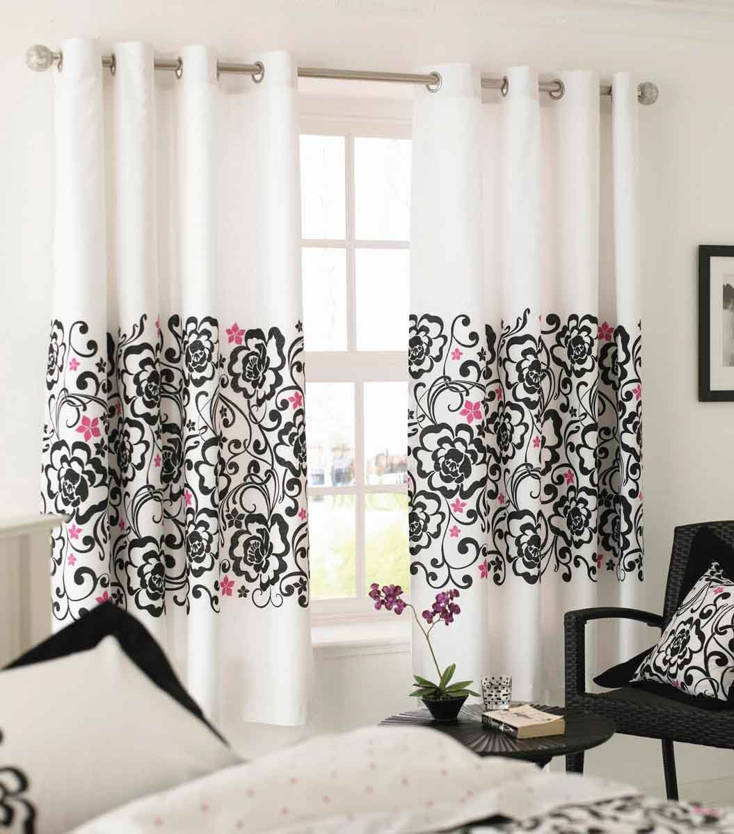 Modern-luxury-white-curtains-with-black-and-pink-flowers