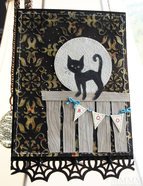 Black cat lamp hanging mel stampz