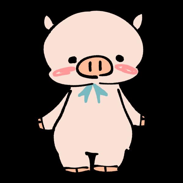立つ豚のイラスト かわいいフリー素材が無料のイラストレイン