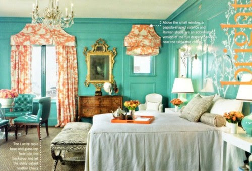 Coral & turquoise bedroom designed by Kendall... - looking for ...