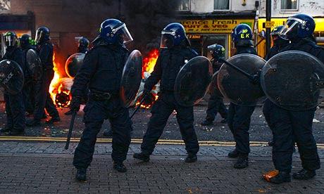 Riot police in Hackney
