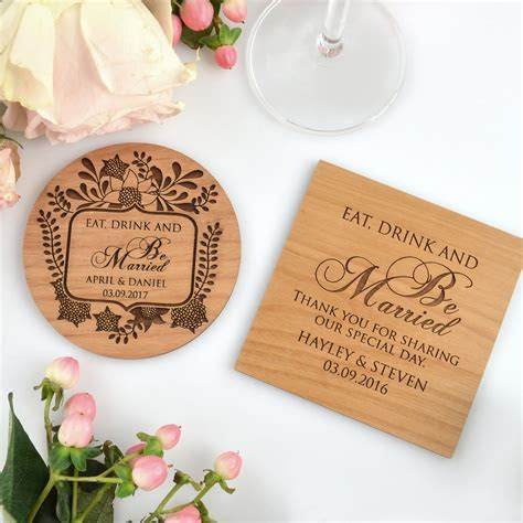 Engraved Wedding Wooden Coasters Bomboniere   Personalized