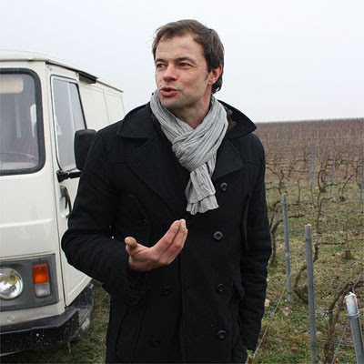 Emmanuel Brochet next to his ramshackle van that brought us up his Mont Benoit vineyard