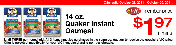 Quaker Instant Oatmeal - 14 oz : eVIC Member Price - $1.97 ea - Limit 3