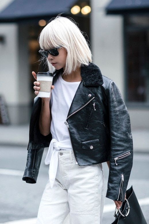 Le Fashion Blog Blogger Style Blonde Short Hair Sunglasses Fur Collared Leather Moto Jacket Knotted Tee Shirt Metal Handle Purse White Denim Via The Haute Pursuit
