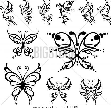 Butterfly tattoo. Vector Illustration, isolated black and white objects.