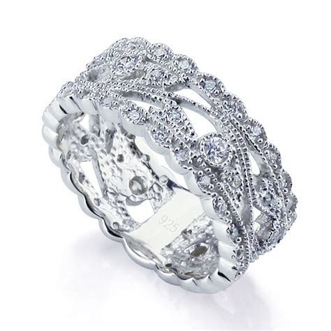 Women Silver Rhodium Plated Engagement CZ Set Vintage Ring