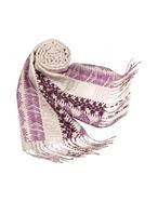 Purple Signature Animal Pattern Wool Fringed Long Scarf