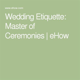 Wedding Etiquette: Master of Ceremonies   eHow   One Boy