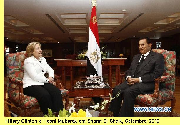 Hillary Clinton e Mubarak.