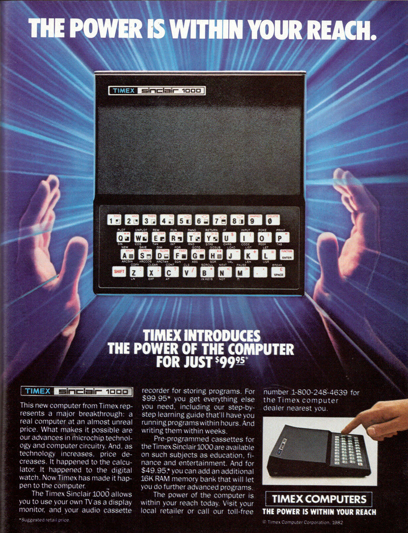 1982: for 50% of the price of the computer, you could get 16KB of additional RAM.