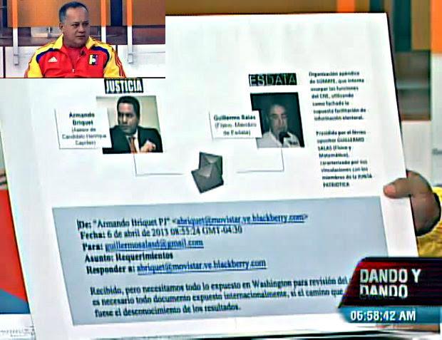 Entre los documentos presentados por Diosdado Cabello se encuentra este Correo electrónico enviado por Armando Briquet.