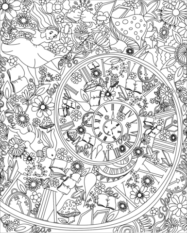 alice falling down the rabbit hole coloring page  free printable coloring pages
