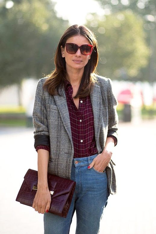 Le Fashion Blog Street Style Leila Yevari Lfw Oversized Sunglasses Grey Tweed Jacket Plaid Button Down Shirt Burgundy Clutch Jeans Via Harpers Bazaar