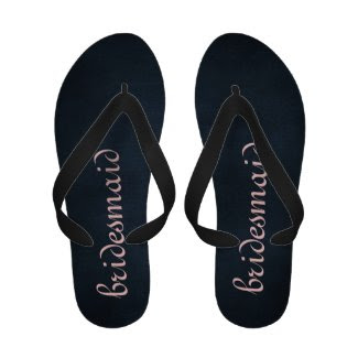 Black and Pink Bridesmaid Flip Flops