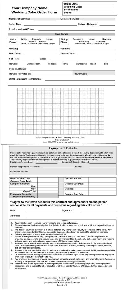 CakeBoss Free Sample Wedding Cake Contract