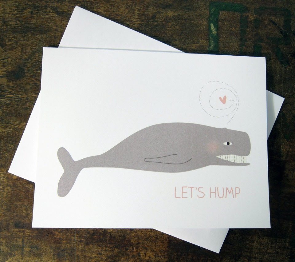 Let's Hump (Love-Struck Whale) - Valentine, Wedding, Anniversary Card
