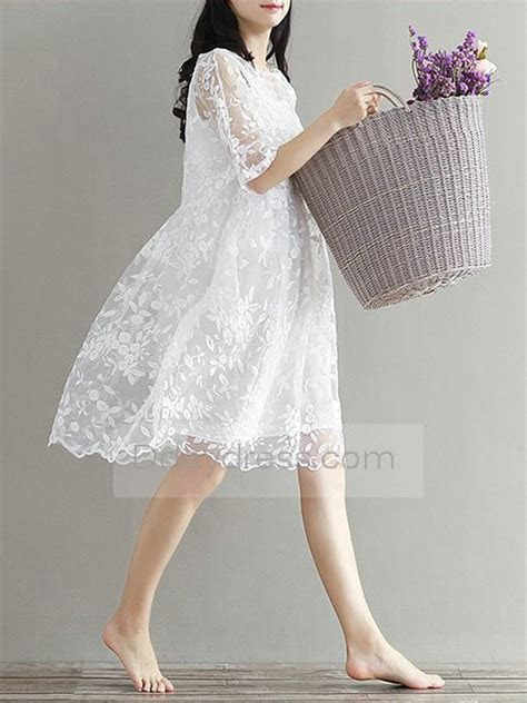 Save one Summer Loose Lace Embroider Pregnant Dress Boat