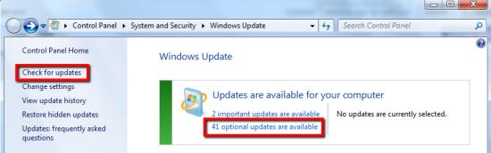 Actualización opcional de Windows