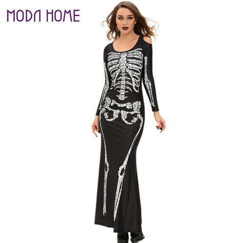 Halloween Wedding Gowns Women Skeleton Dress Shoulder Cut