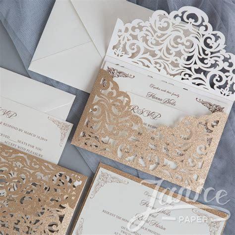 Elegant Glitter Paper Laser Cut Envelope Wholesale Wedding