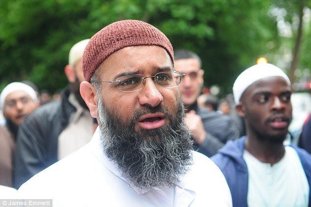 Mrs May is expected to set out priorities for a Tory government - including a review of Sharia courts and powers to stop preachers of hate like  Anjem Choudary (pictured) from public speaking or using social media
