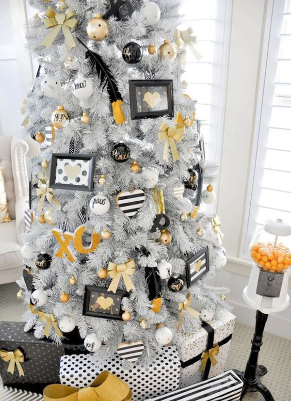 Adorable White Christmas Tree With Photo Frame Ideas Home Design