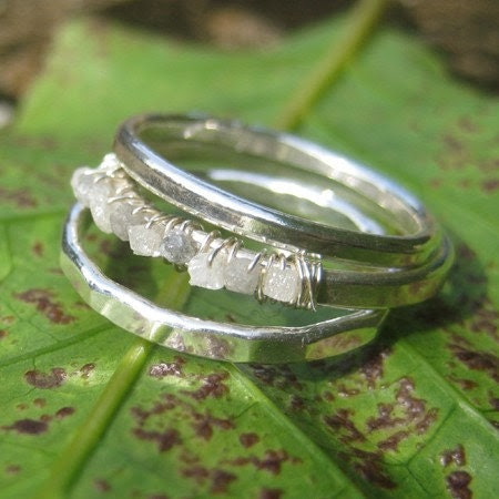 Rough Diamond and Fine Silver Ring Stack
