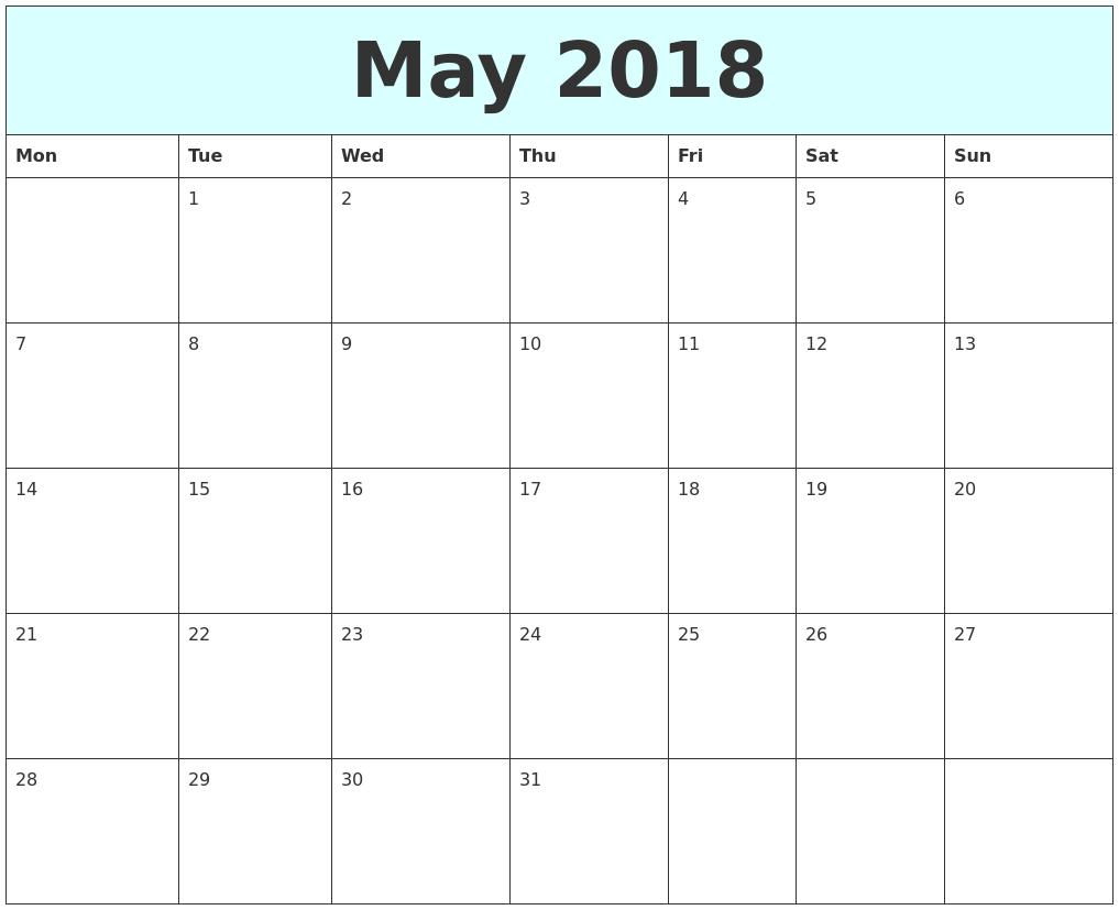may 2018 free calendar monday start