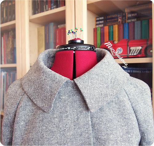 marchewkowa, szafiarka, szycie, żakiet, lata 50-60, tweed, kołnierz
