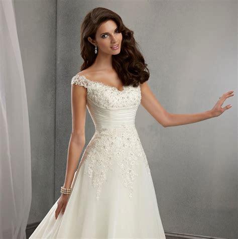 A line Cap Sleeves Long Lace Wedding Dress   Uniqistic.com