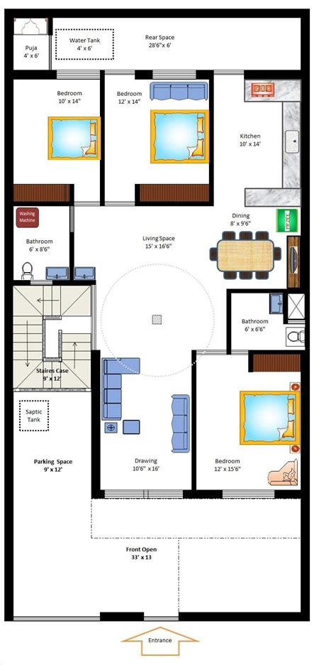 west facing home plan ideas   house