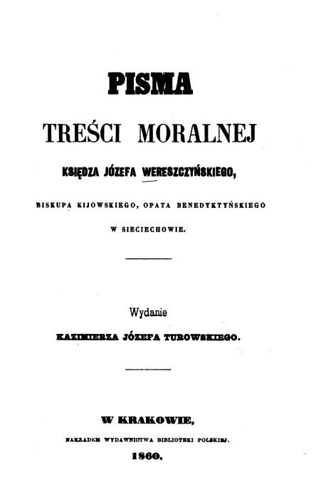 Biskup Józef Wereszczyński, Pisma treści moralnej. Kraków 1860