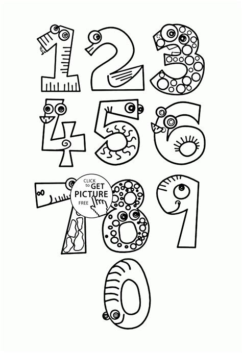 monster numbers coloring pages  kids counting numbers