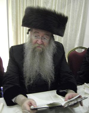 The Nikolsburger Rebbe attending the Reichmann...
