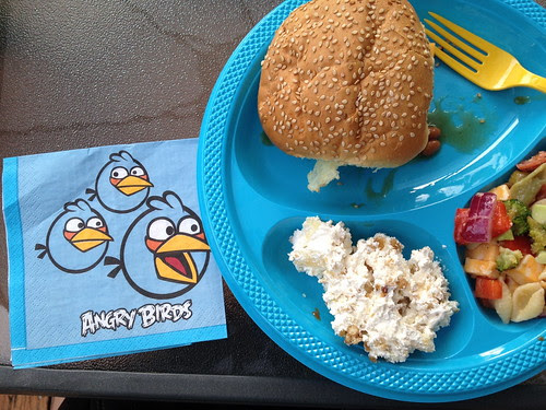 angry birds napkin with dinner