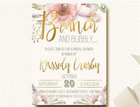 Brunch and Bubbly Bridal Shower invitations Blush Pink