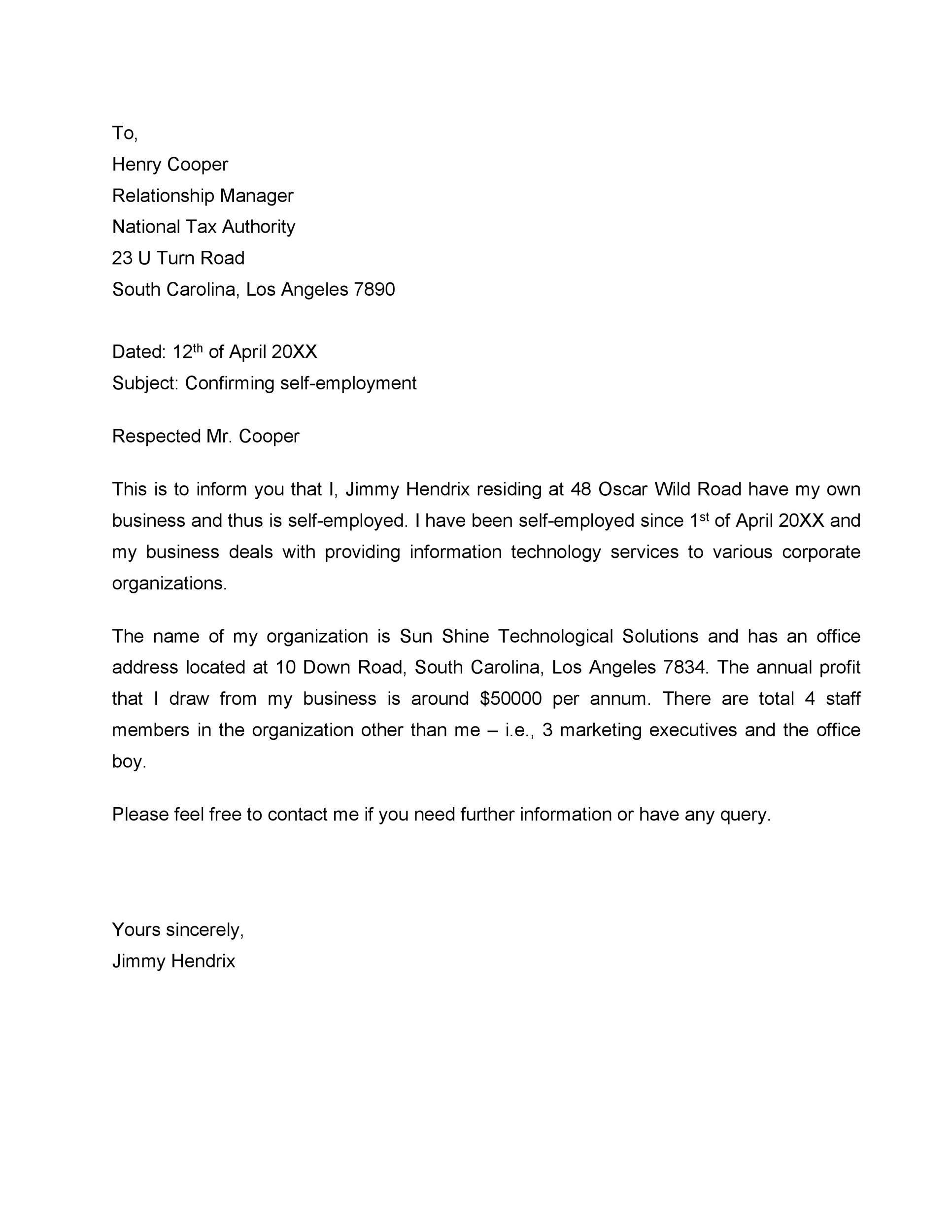 Self Employed Verification Letter from lh4.googleusercontent.com