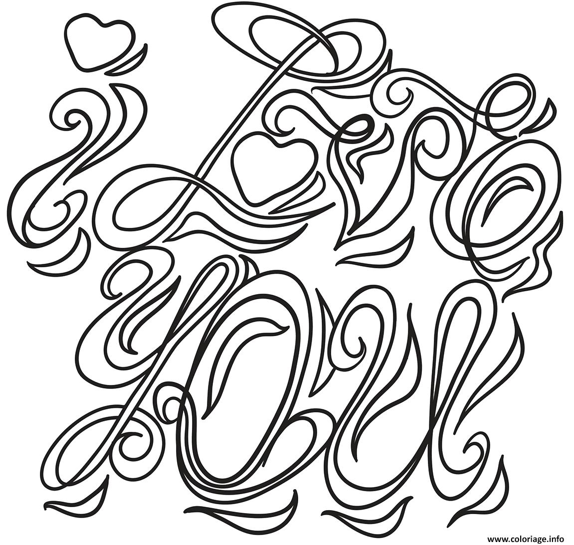 Coloriage I Love You Saint Valentin Jecoloriecom