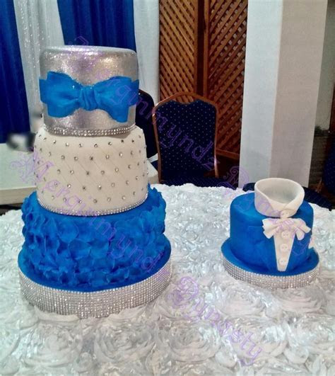 royal blue, silver and white   cake by Kimlee Cezair