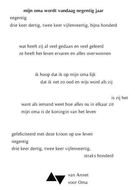 Bedwelming Gedicht Verjaardag Oma   Verjaardag #TS33
