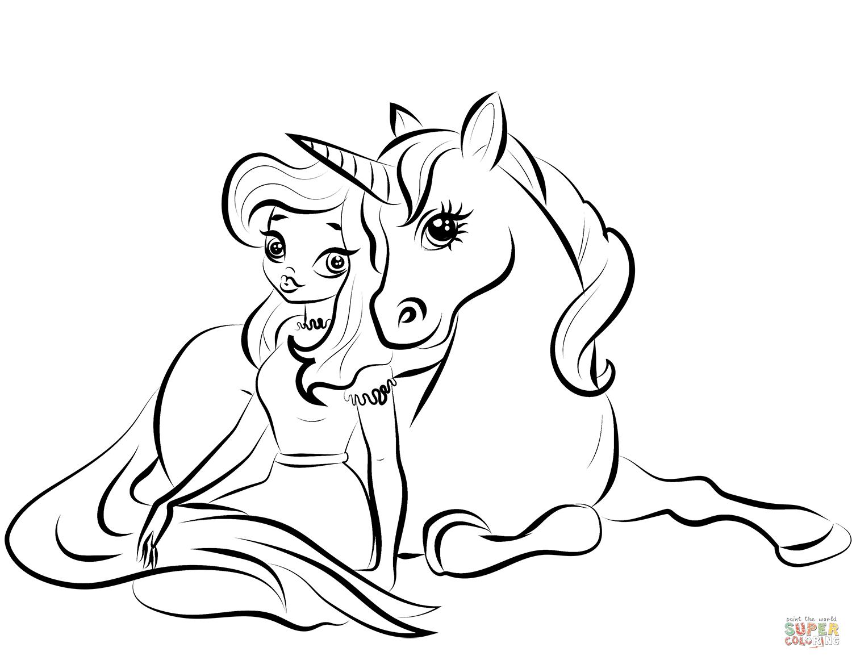 Princess with Unicorn coloring page | Free Printable ...