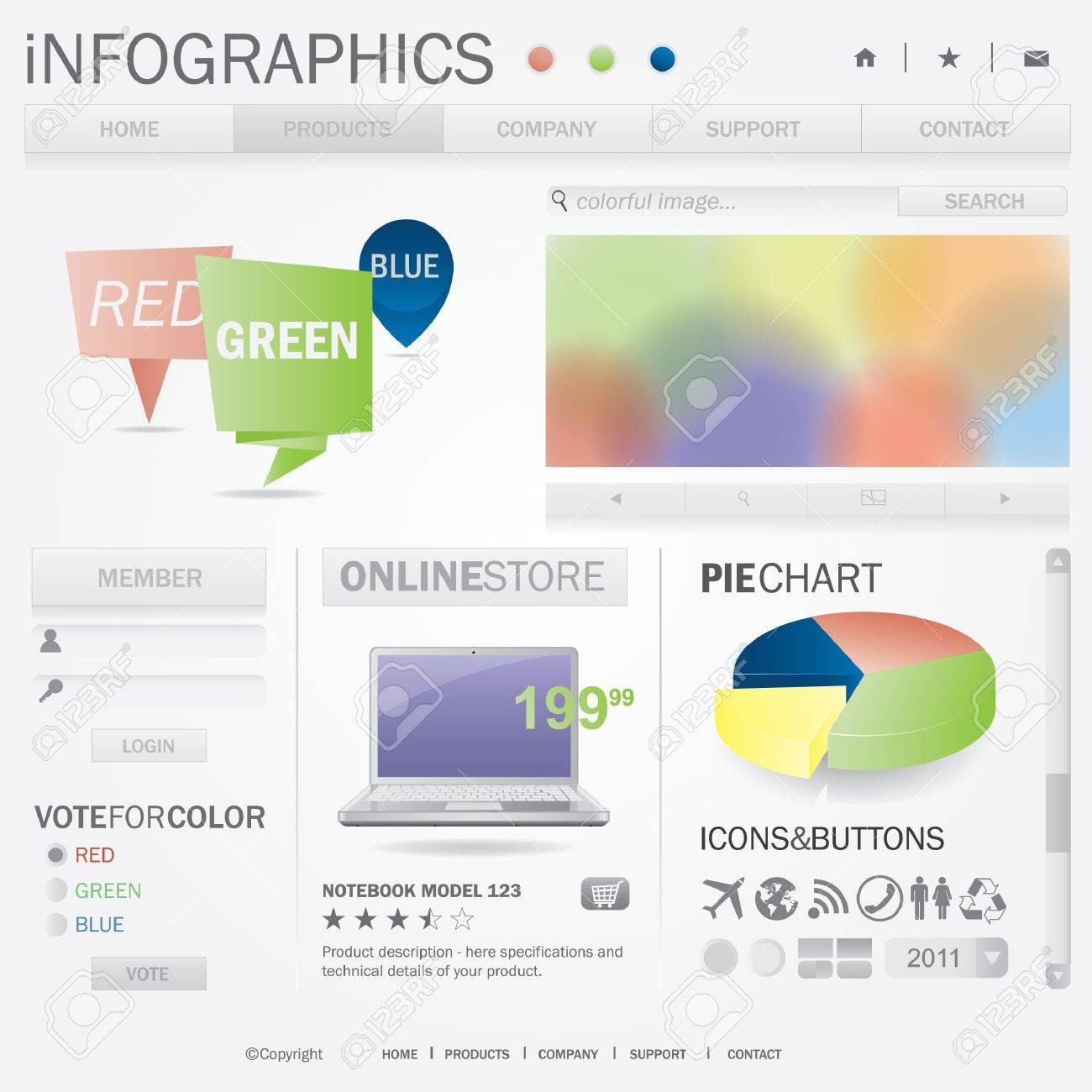 Infographics Web Template. All Elements Of Web Page Are Editable ...